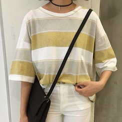 Dute - 3/4-Sleeve Striped T-Shirt