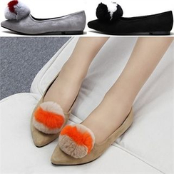 Reneve - Pointy-Toe Pompom Faux-Suede Flats