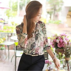 Styleonme - Floral Patterned Chiffon Blouse