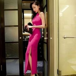 Sherbo - Halter Embellished Side Slit Sheath Dress