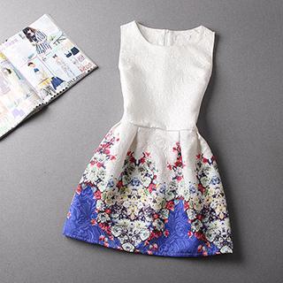 NINETTE - Sleeveless Printed Jacquard Dress