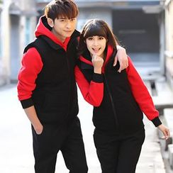 Igsoo - Couple Set : Printed Hoodie + Vest + Sweatpants