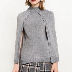 Obel - Plain Mock Neck Cape Sweater