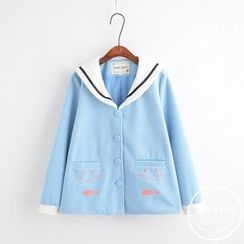PANDAGO - Embroidered Sailor Collar Single-Breasted Jacket