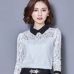 Eferu - Collared Lace Long-Sleeve Top