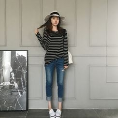 NIPONJJUYA - Long-Sleeve Striped T-Shirt