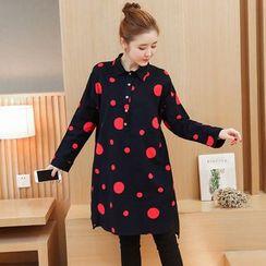 VIZZI - Dotted Long Sleeve Dress