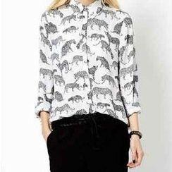 Flower Idea - Tiger-Print Chiffon Shirt