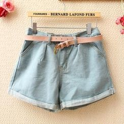 Munai - High-Waist Cuffed Denim Shorts