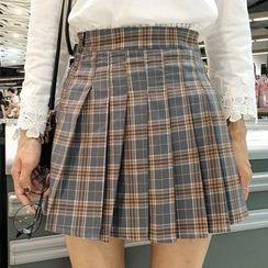 Dute - Plaid Pleated Skirt