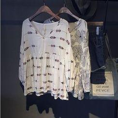 芷蓯夕 - 印花V領襯衫