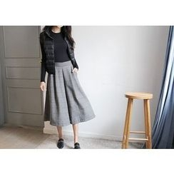 Hello sweety - Band-Waist Wide-Leg Cropped Pants
