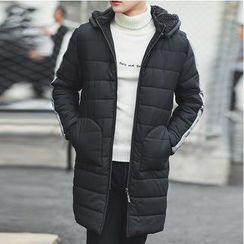 Bay Go Mall - Colour Block Padded Coat with Detachable Hood
