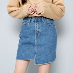 Envy Look - Asymmetric-Hem Denim Mini Skirt