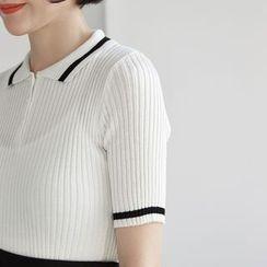 HORG - 羅紋中袖針織上衣
