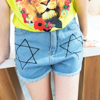 Tokyo Fashion - Star-Print Distressed Denim Shorts