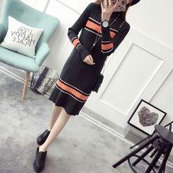 Qimi - 條紋毛衣連衣裙