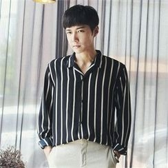 MITOSHOP - Long-Sleeve Striped Cotton Shirt