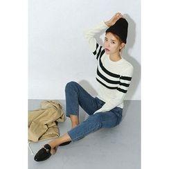 migunstyle - Round-Neck Striped Knit Top