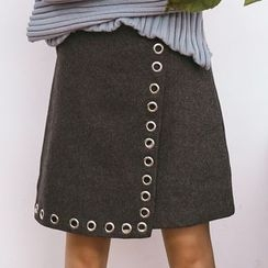 SUYISODA - Eyelet Detail A-Line Skirt