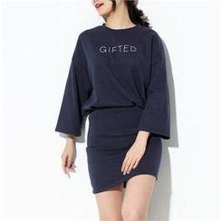 Zsel - Set: Kimono-Sleeve Lettering Top + Mini Skirt