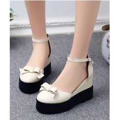 TULASI - Ankle Strap Bow Wedges