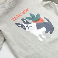 Vateddy - 印花短袖T恤