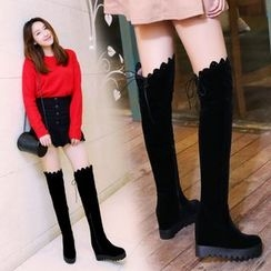Shoes Galore - Hidden Wedge Scallop Trim Over-the-Knee Boots
