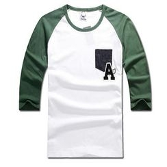 MR.PARK - 3/4-Sleeve Printed Raglan T-Shirt
