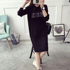 Qimi - Lettering Hooded Knit Dress