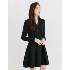 FROMBEGINNING - Wrap-Front Buttoned A-Line Dress