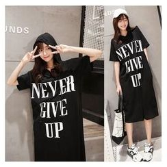 MayFair - Lettering Short Sleeve Hooded T-Shirt Dress