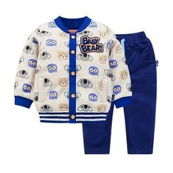 Ansel's - 童装套装: 卡通棒球外套 + 运动裤