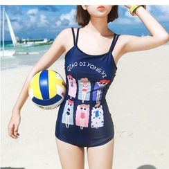 Jumei - Cartoon Print Double-Strap Swimsuit