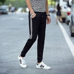 Chic Maison - Drawstring Contrast-Stripe Cotton Pants