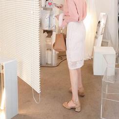 mimi&didi - Lace-Overlay Midi Skirt