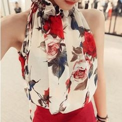 Fashion Street - Set: Floral Print Tank Top + Plain Pencil Skirt