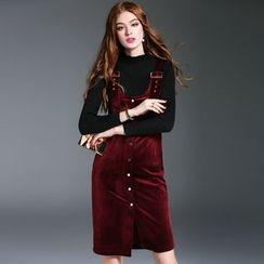 洛圖 - 飾扣帶飾扣背帶連衣裙