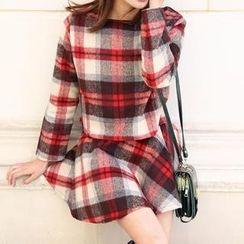 11.STREET - Set: Plaid Woolen Top + Skirt
