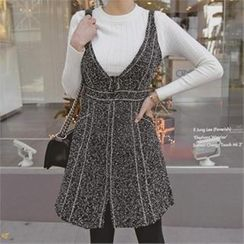 TOM & RABBIT - Set: Tweed Jumper Dress + Rib-Knit Top