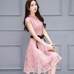 Romantica - Short-Sleeve Lace Dress