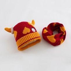 JIMIJIMI - 嬰兒套裝: 牛牛無邊帽 + 圍巾