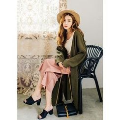 J-ANN - Open-Front Long Cardigan