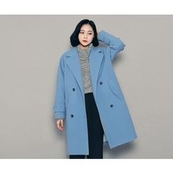 HOTPING - Double-Breasted Notched-Lapel Coat