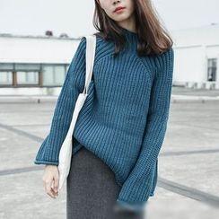Polaris - Plain Mock Neck Chunky Sweater
