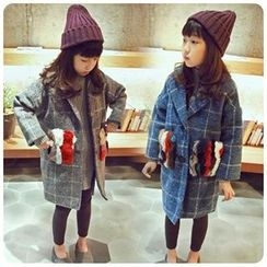 Rakkaus - Furry-Pocket Plaid Coat