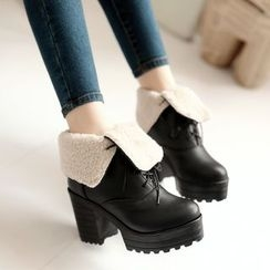 Pastel Pairs - Block Heel Faux Leather Short Boots