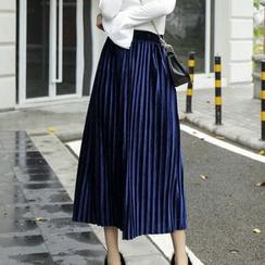 Sugar Town - Accordion Pleat Midi Velvet Skirt