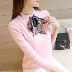 Cotton Candy - Bow Neck Sweater