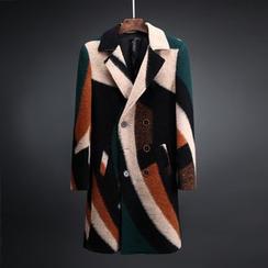 除一 - 撞色中長款修身毛呢大衣